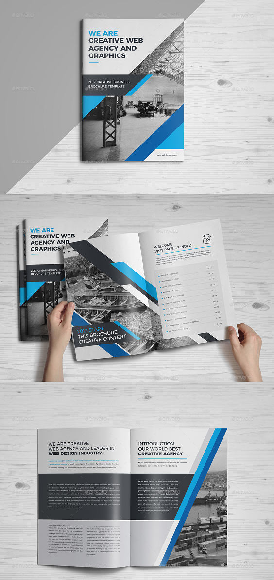 32 Pages Agency Brochure. Specification CMYK Color Mode 300 DPI Resolution Size 297×210mm (A4) Paper Size 3 mm Bleed in Each Side Features Free Fonts Smart Object For Replace Photo & Logo Infographic element 100% editable All Illustrations Included 16 PSD Files (32 Pages) Read me.txt (help file)