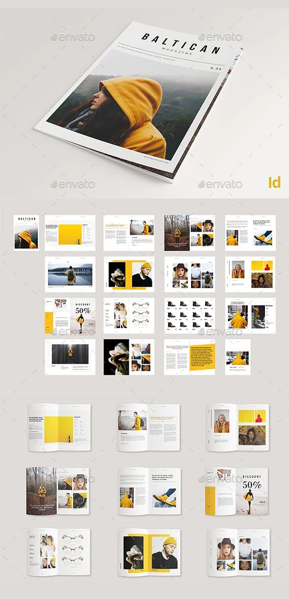 32 Pages Magazine Brochure. THIS PRODUCT INCLUDES  32 pp Indesign Document A4 size + 0.125 bleed cut Compatible with Adobe Indesign CS4, CS5, CS5.5, CS6 and ;CC Includes .IDML file Paragraph and Character Styles Edit brand colors through palette Aligned to a Column Grid Master Pages Images, Text and Background on separate layers Uses free fonts Help File.