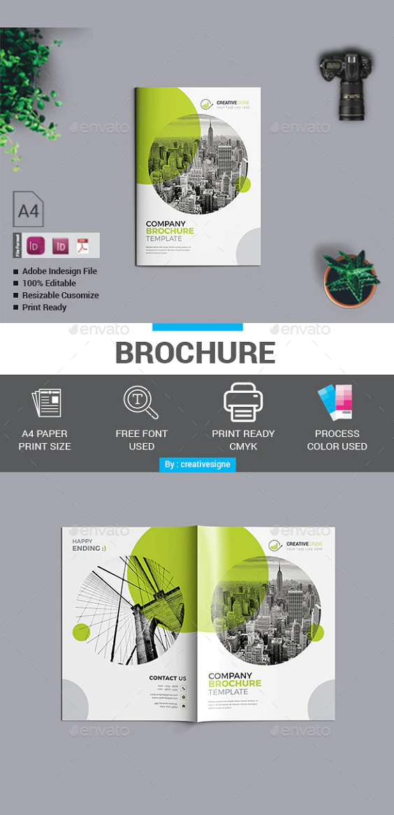 Brochure Easy to edit. Brochure 11.69×8.27 in with bleed. 16 pages A4 size. CMYK color mode. Print redady InDesign CS4 , CC 2019, & PDF Text editable. Help file Given.