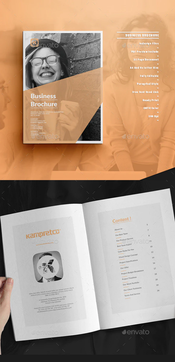 Awesome Business Brochure. Proposal Template Features: International A4 size and US Letter Size CMYK Color Print-ready Adobe InDesign for CS4 or Later Paragraph and Text styles included 32 Pages Brochure 3 Mm Bleed Customize any Colour with only 1 click PDF for Preview included Easy to edit with Help File PDF included