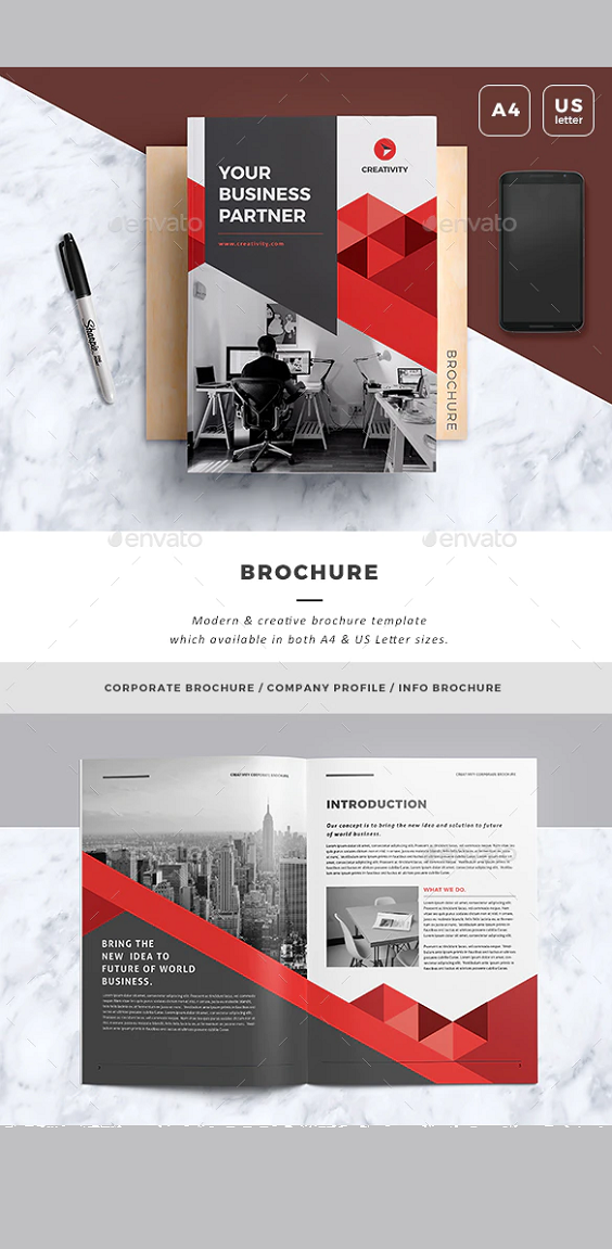Business Brochure Template. This layout is suitable for any project purpose. Very easy to use and customise. Features : - 2 sizes: A4 & US letter - 16pp Indesign Document - .IDML file Included - Compatible with Adobe Indesign CS4, CS5, CS5.5 & CS6 - Vector infographics Included - 6 / 12 Content Column Grid - Master Pages - Uses free fonts