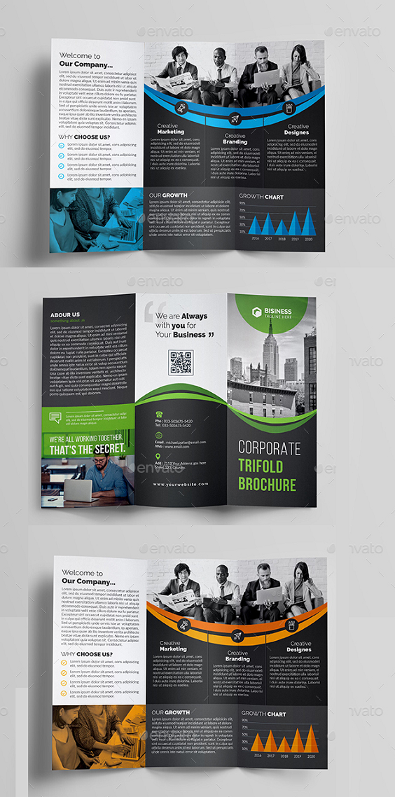 "Corporate Trifold Brochure Template, Features : Psd Files 4 Color variation Easy Customizable and Editable Size 8.5""x11"" (0.25 bleed) 300 Dpi Print Ready Format Image Are not Included. But image download links are available in the Read Me file. Files Included : 8 Psd Files (In-side & Out-side) 1 Read me File Free Font Used : Bebas Neue Raleway Lato"