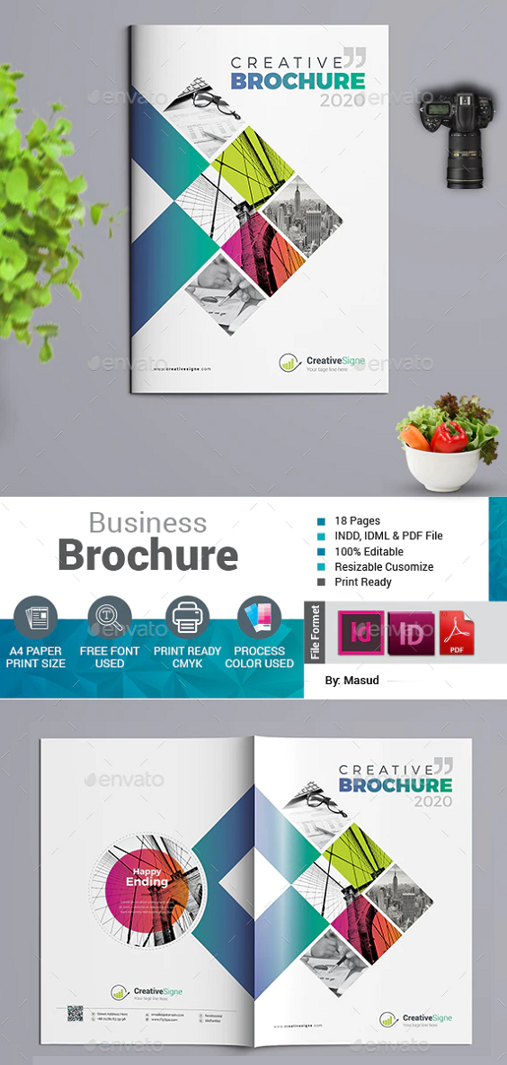 Brochure Easy to edit. Brochure 11.69×8.27 in with bleed. 18 pages A4 size. CMYK color mode. Print redady InDesign CS4 , CC 2019, & PDF Text editable. Help file Given.