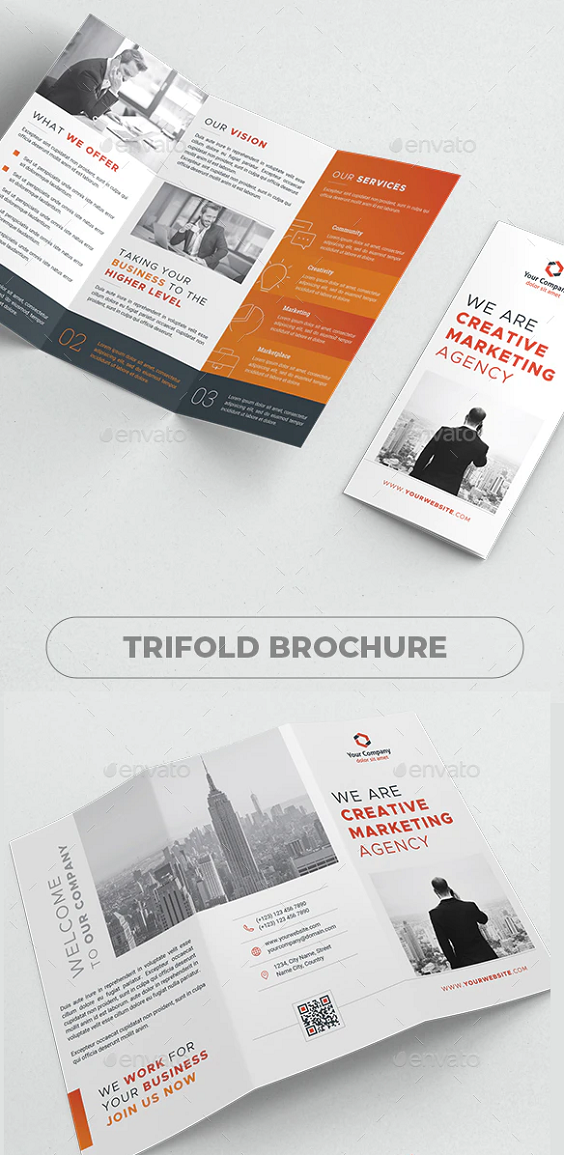 Creative & Unique Trifold Brochure in 4 color styles Very easy to use and customize, just choose or adjust the color, add your Logo, Company details, Texts, Photos and you are ready to print. Features Size A4 : 297×210 4 Color Styles CMYK colors Layers Swatches Fully editable 300 DPI 3 mm BLEEDS Included Files Ai Illustrator files format Vector EPS