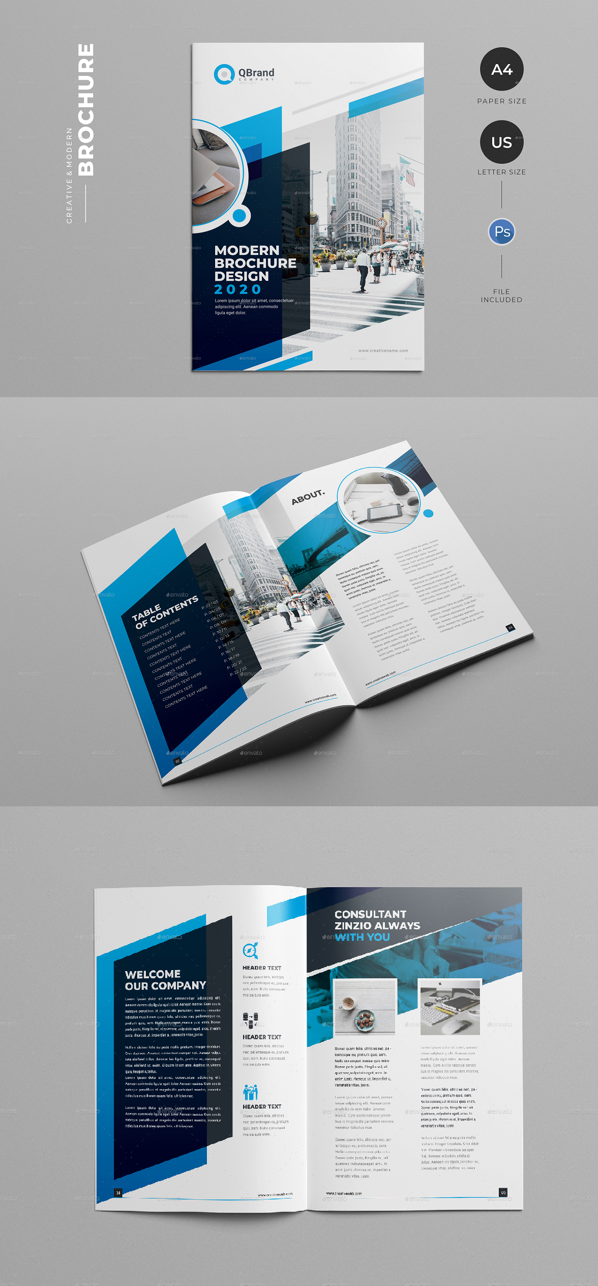 Creative & Modern Brochure, H I G H L I G H T S 24 pages PSD File Document ( A4 Paper & US Letter Size ) with Bleed Compatibility with Adobe Photoshop Well Layered & Organized everything is editable color/text & Photo 100% Scalable All Files 300DPI CMYK Ready to print Free font used Need help? Send us an email or comment. I N C L U D E D 12 PSD file in A4 Size (Adobe Photoshop CS3 version) 12 PSD file in US Letter Size (Adobe Photoshop CS3 version)