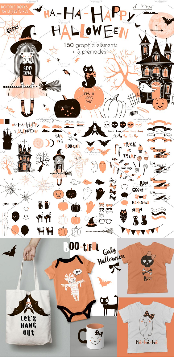 Cute Halloween graphic collection is here! Perfect for DIY projects, party invitation, postcard, scrap booking, stickers, tee print and many other designs up to your imagination.