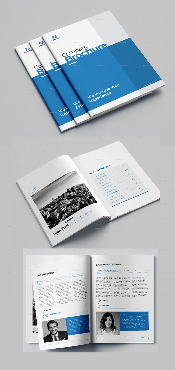 Creative & Modern Company Profile Brochure Very easy to use and customize and Ready for print. Features 16 Pages Size A4 : 210×297 mm CMYK colors Swatches Layers Fully editable 300 DPI 3 mm BLEEDS Included Files INDD (CS4+) IDML (CS4+) PDF Preview ReadMe