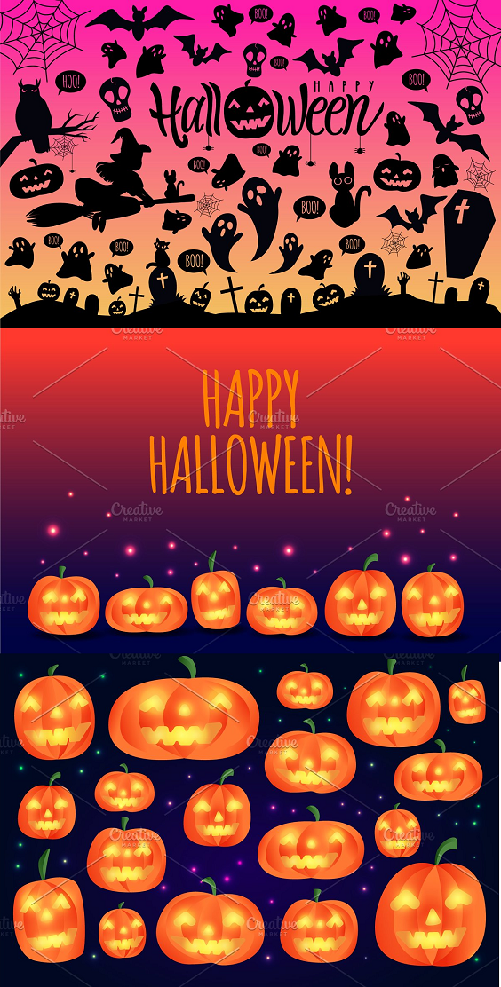 This product contains: Set of 50+ Halloween elements, 6 types of lettering, 3 banners and 2 sets of pumpkins  All graphics can be easily edited, resized, mix and matched to create your own personal design!  What you will get:  -1 AI File (7 artboards with 50+ vector elements)  -7 EPS10 file  -7 JPEG files