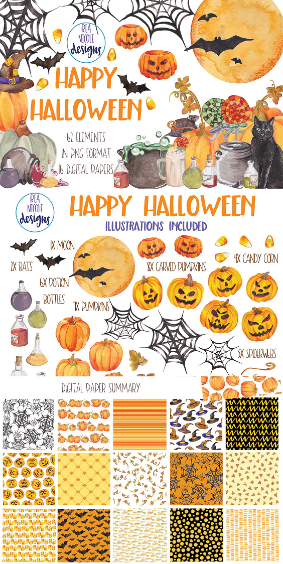Happy Halloween illustrations perfect for invites and halloween crafts. All elements are hand drawn and coloured using watercolour colours and coloured pencils to give each image a unique look. You can use this for handmade products such as Invitations, stickers, stationary, paper products and so much more.