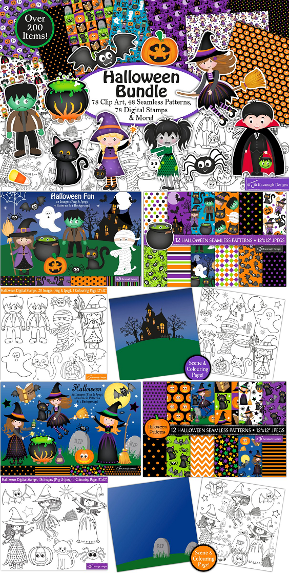 This high quality fun Halloween Bundle is great value and perfect for all your crafts and projects.  This bundle includes 78 clip art elements, 48 seamless patterns/papers, 78 black and white digital stamps, 3 colouring pages & 2 background scenes!  Use the images for cardmaking, invitations, decorations, graphic design projects, scrapbooking, home decor, embroidery, stickers, planners and much more
