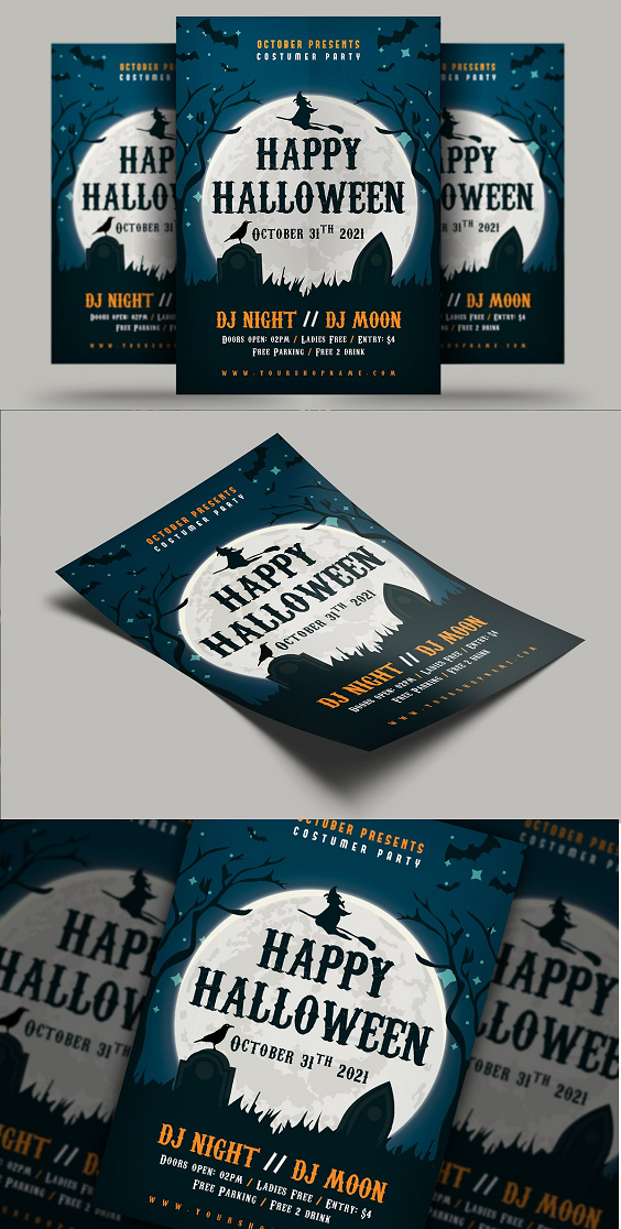 Halloween Flyer design can be used for any club, event, party, festival or other advertising purposes. Features: Size A4 3mm Bleed area Fully Editable CMYK / 300 dpi Customizable Text Easy to Customize.