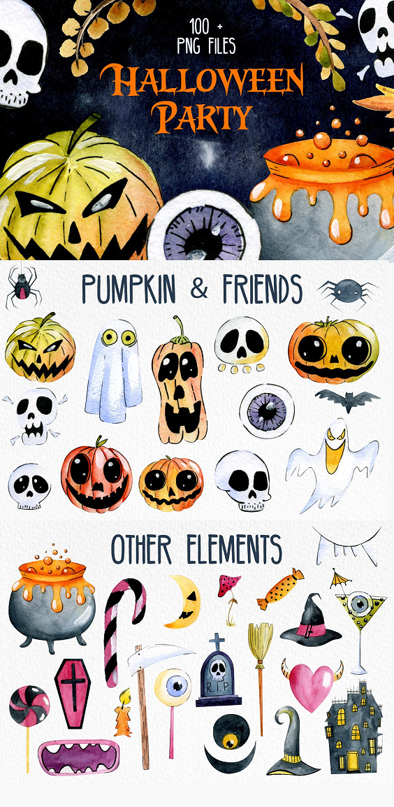 This Hallowen Collection of high quality hand painted watercolor Graphic. Included are Witches Hats, Pumpkins, Witch, Broom stick, Mushrooms, Branches, Spyders, Flowers, Bats, and much more. Perfect graphic for cards, invitations, greeting cards, identity, packaging, posters, bags, logos, website, banners and more.