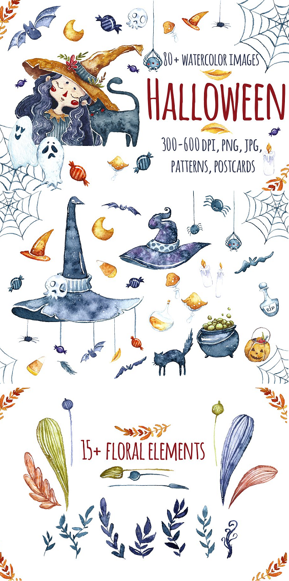 Halloween The set of high quality hand painted watercolor images. You will recieve: 80+ watercolor images (PNG, transparent background, 600 dpi) 3 characters 17 floral elements 5 ghosts 11 pumpkins 34 others elements 3 little spots 5 stars 1 textplate (3376x2549px,10x15cm, png) 7 postcards (jpg, 600 dpi) 3 patterns (seamless, tileable) in 2 sizes: large-sized (5000 5000 px, PNG, 300 dpi) small-sized (nearly 1000 1000 px, PNG, 300 dpi)