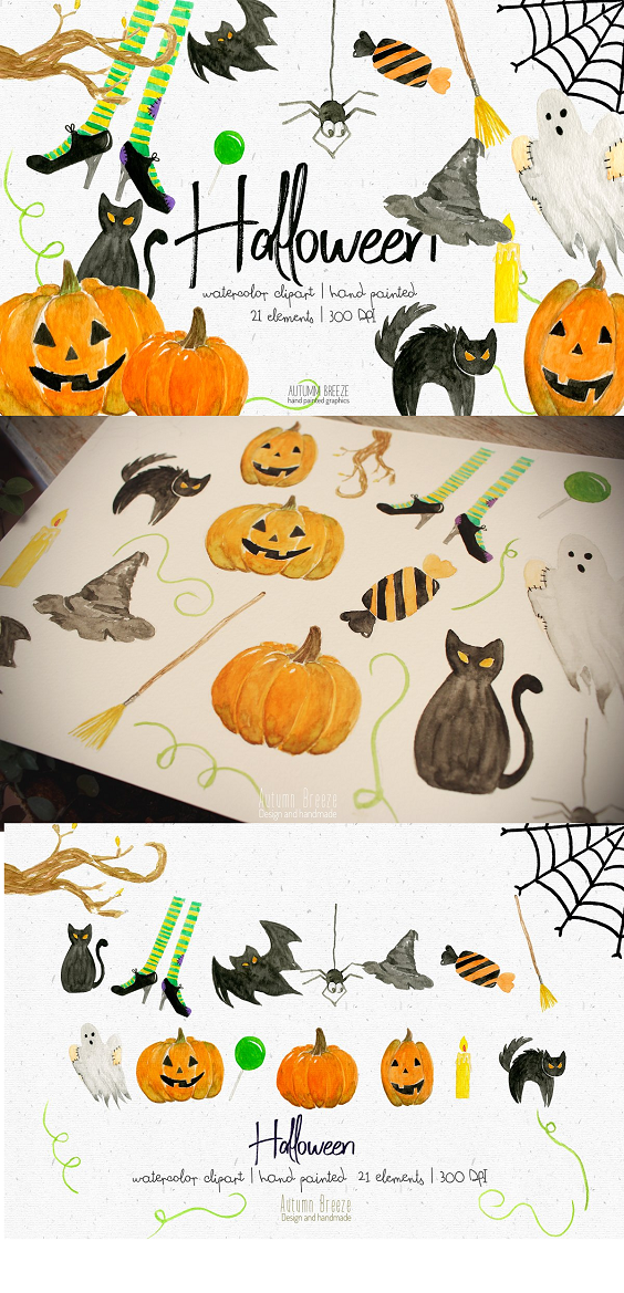 This Halloween clipart set is just what you needed for the perfect for Halloween! You can make beautiful invitations, scrapbooking, stickers, cards and more. DETAILS Total of 21 PNG images with transparent background, each one is saved individually High-resolution files - 300 dpi 1 ZIP folder 100% terrificness guarantee; Painted by hand IT INCLUDES spider ghost x2 spooky pumpkins x1 not spooky pumpkin x2 witches legs x2 candy cat scared cat 1/4 web witch hat witch broom bat candle x4 green things tree branch.
