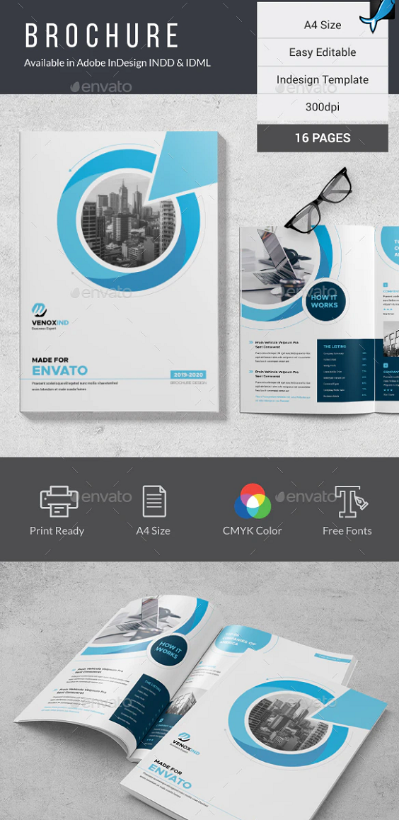 This Brochure Template can be used for any business purpose or others Projects. All fonts, shape and other elements are very easy to customize Features: A4 Size 16 Pages 300dpi InDesign Template CMYK Color Mode Compatible With InDesign CS4, CS5, CS6 & CC