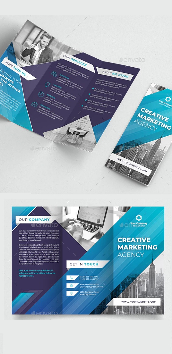 Creative & Unique Trifold Brochure in 4 color styles Very easy to use and customize, just choose or adjust the color, add your Logo, Company details, Texts, Photos and you are ready to print. Features Size A4 : 297×210 4 Color Styles CMYK colors Layers Swatches Fully editable 300 DPI 3 mm BLEEDS Included Files PSD Photoshop files format Ai Illustrator files format Vector EPS ReadMe.