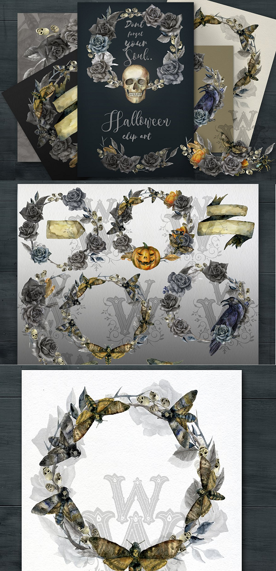 Halloween clipart, wreath clip art, watercolor, frame, witch, gothic, wedding, black, rose, template, skull, skeleton, pumpkin, jack-o-lantern, bouquet, border, spooky, label, crow, moth  This beautiful watercolor set includes 13 Halloween compositions. You will receive .png files that have transparent backgrounds that allow you to place these clip art pieces behind any color background. This Halloween clip art will help to create unique designs for your scrapbooking projects, party invitations, Halloween decorations, Halloween decor, Halloween invitations, greeting cards, gothic wedding invitations, gothic wedding decor, Paper Products, websites, home decorations, windows decorations and much more.