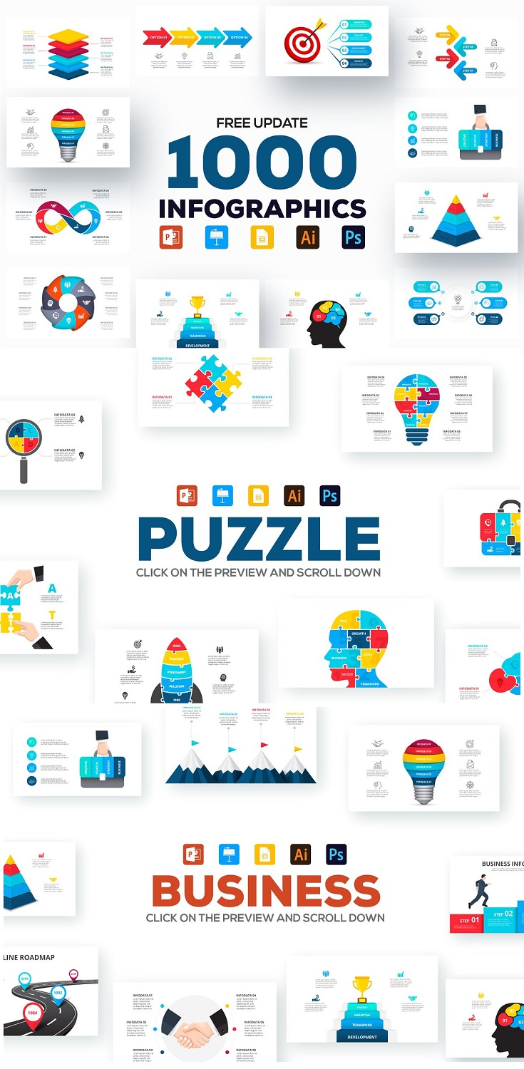 1200 Animated infographic templates for every style with FREE UPDATE. Be it business, geography, medicine, minimal, creativity, cycles, isometric and much more. Each infographic is presented in different formats - PPT, PPTX, KEY, AI and PSD. For editing you can use Microsoft PowerPoint, Adobe Illustrator, Adobe Photoshop or Keynote.
