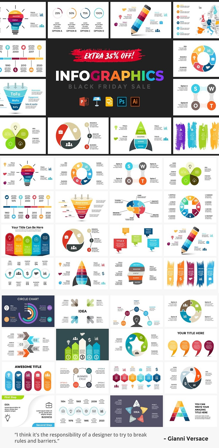Awe your audience graphically with 200 Best Infographics of Entire Store!. Every file is absolutely easy to edit in the software of your choice: Powerpoint, Keynote, Google Slides, Photoshop & Illustrator. Product includes the following categories: Business Marketing Startup Medicine Ecology Education Social media Creative thinking Strategy