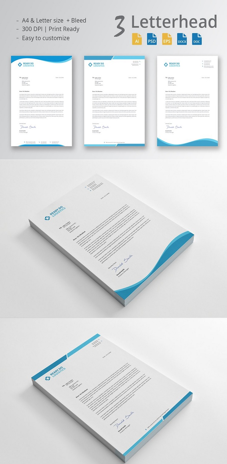 3 in1 Letterhead Template