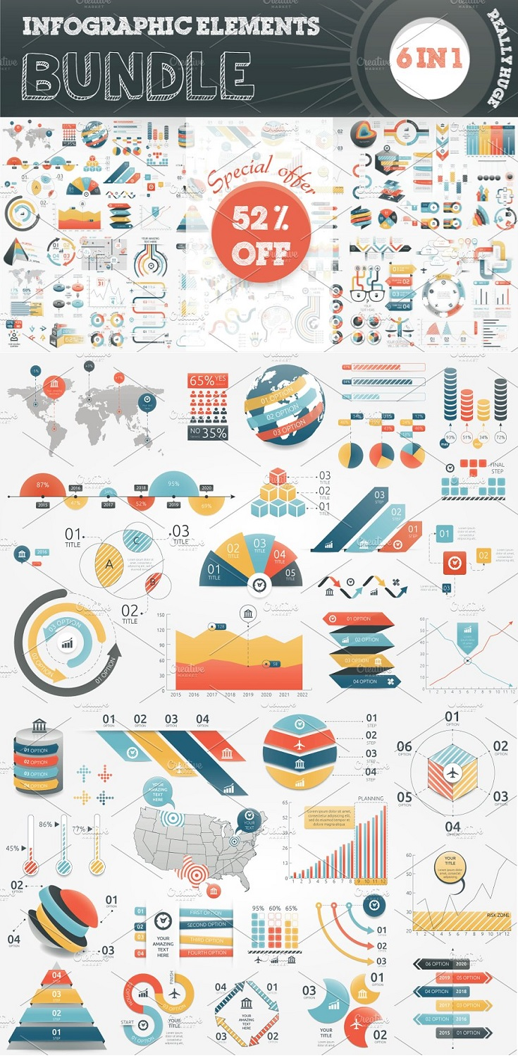 Infographic Bundle contains 6 sets of infographic elements. This set contains fully vector graphic objects. If you buy this bundle template be sure that you have enough knowledge to edit it. Unique colour scheme and different styles of infographic objects (3d and flat) will help you finish your next project faster and with a high level of graphic standards.