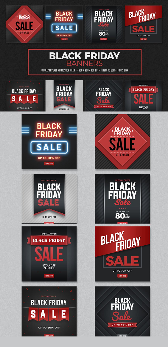 Black Friday Banners 8 Fully Layered Photoshop Files 900x900 Pixels - 300dpi Easy to edit Fonts link attached with file