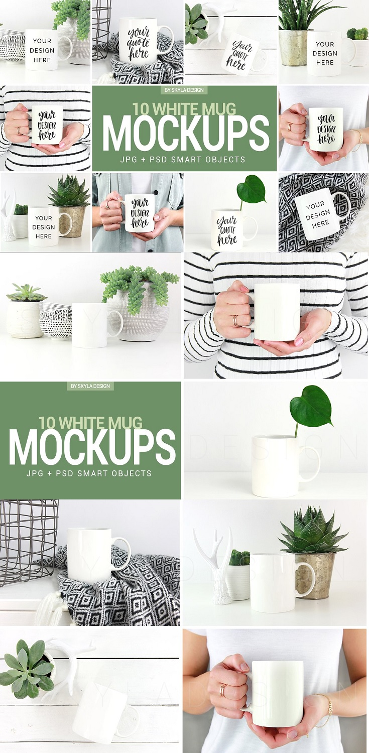 Bundle of 10 White Coffee Mug Mockups An amazing bundle of 10 white coffee mug mockups for all your prints and quotes. These are perfect for your webshop and all your social media or print designs. Just add your own quote or print and post online or print.