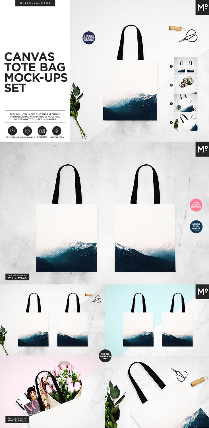 Canvas Tote Bag Mock-ups Set When does mock-up become useful? When it becomes a tool. Not a canvas. We believe that well-designed mock up with multiple useful functions helps you do your work faster and easier. Prepare photos of your products with White Mocca in minutes. It's simple as that.