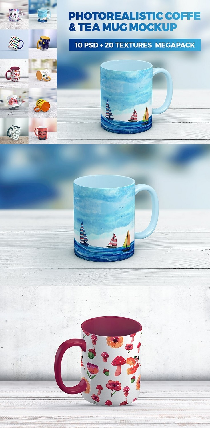 Coffe Mug MockUp MegaPack  10 PSD + 20 background texture  Create a realistic Coffe Mug presentation in few seconds. Coffe Mug MockUp MegaPack is a pack of 10 PSD files, perfect for show – up your design. Simple structure and replacing via Smart Objects make your work easier.