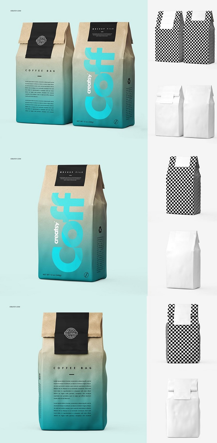 Coffee Paper Bag Mockup Set files works only in Photoshop (min. PS CS5); pack includes 5 .psd files with 5 different views, file specs: 3000x3000 px 300dpi;