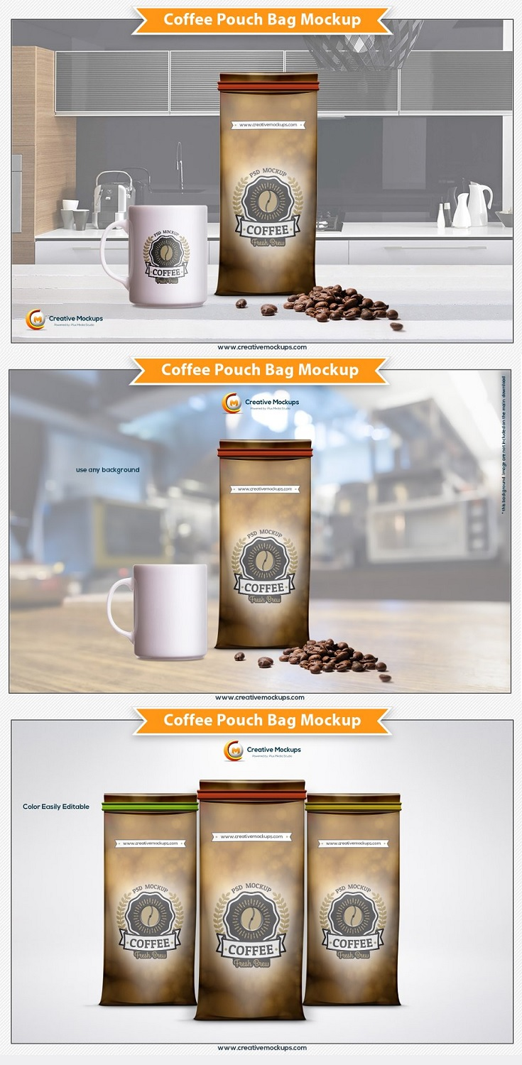 Get a nice coffee pouch bag mockup template for your website or make any design presentation in few seconds.  These Psd files are using the smart object so you can replace the mockup content easily and quickly.  This template have a rich, advanced functionality is powered by smart object meant place your own design