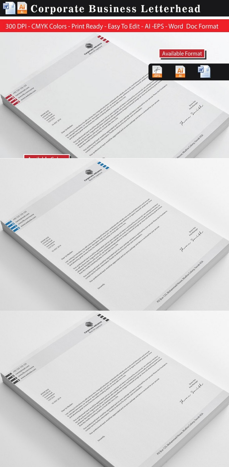 Corporate Advance Letterhead Template