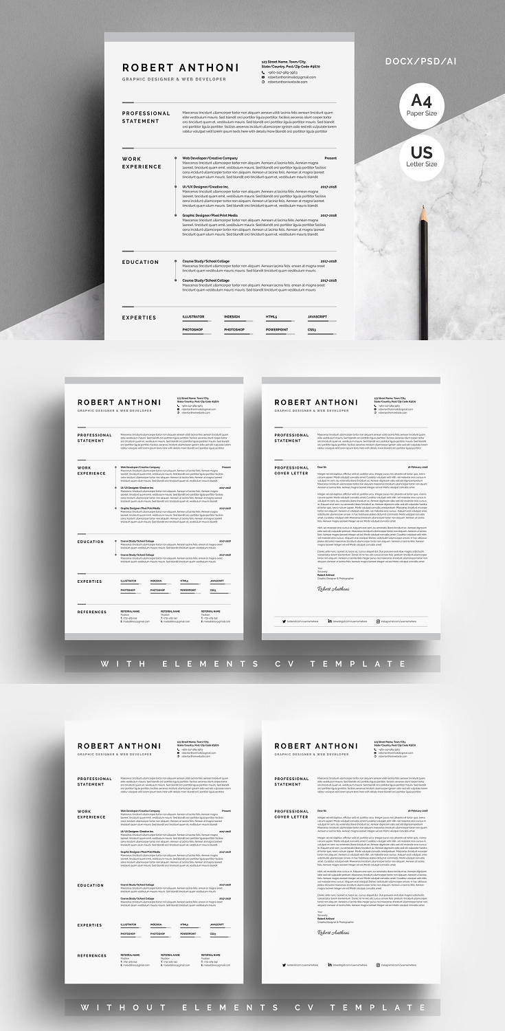 Creative Resume CV Template, A4 Paper Size (210mmx297mm) US Letter Size ( 8.5inx11in ) One Pages Resume/CV Template & One Page Cover Letter Included 30+ Icons Pack Paragraph & Character Style Guide Line Style Document & Baseline Grid Fully Layered Template Black Spot Color Design CMYK, 300 DPI HD Resulation.