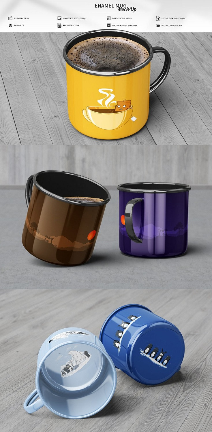 Enamel Mug Mockup Features  8 Views in 7 PSD / Adobe CS4 or higher High resolution / 3000×2000px / 300dpi Editable via smart object (3000×2250px Face Size) PDF Instruction included Turn ON/OFF tea and coffee parts Organized layers and groups Controlled depth of field