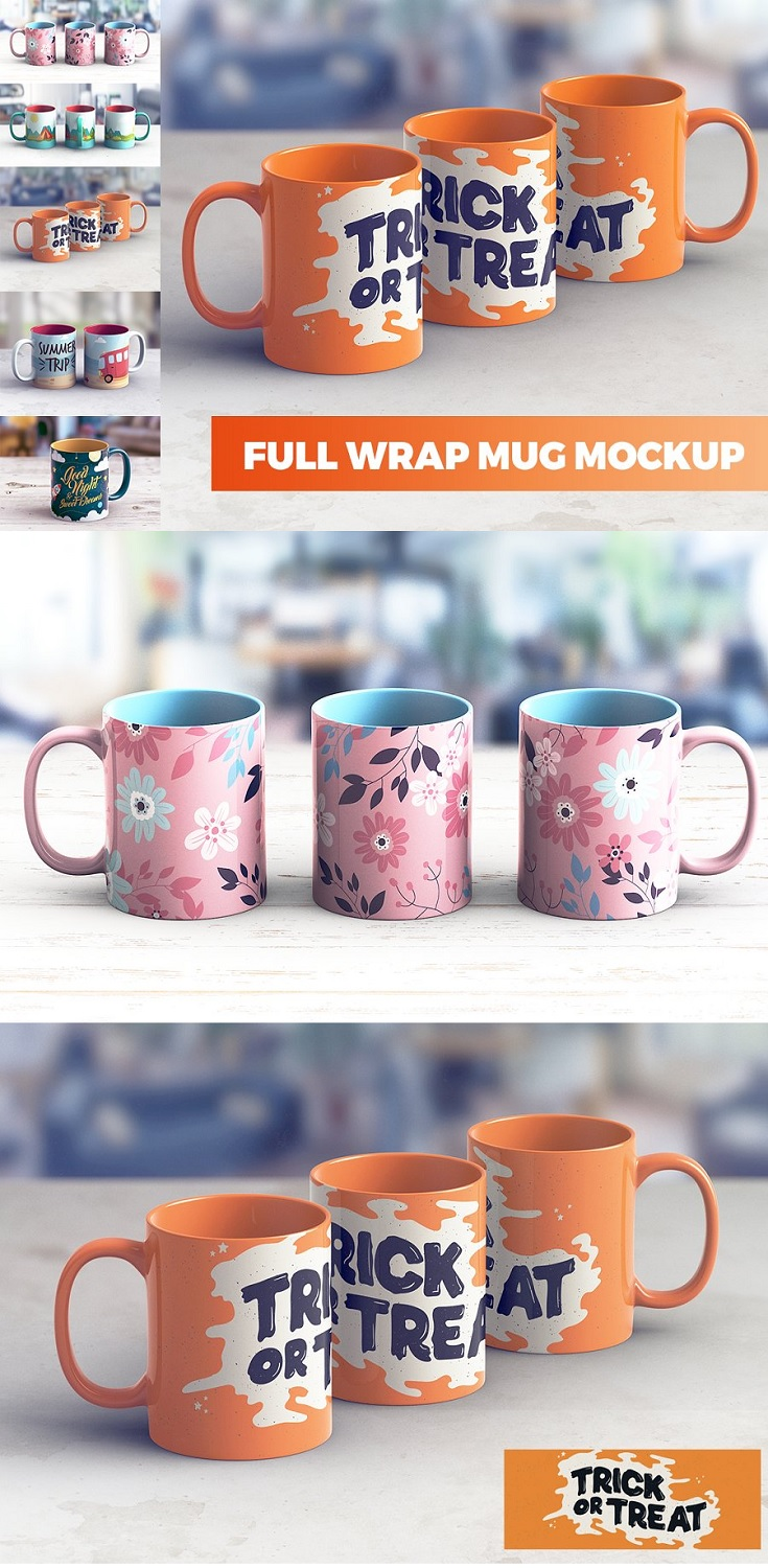 Full Wrap Mug MockUp Create a realistic Full Wrap Mug MockUp presentation in few seconds. Full Wrap Mug MockUp is a pack of 5 PSD files, perfect for show – up your design. Simple structure and replacing via Smart Objects make your work easier.