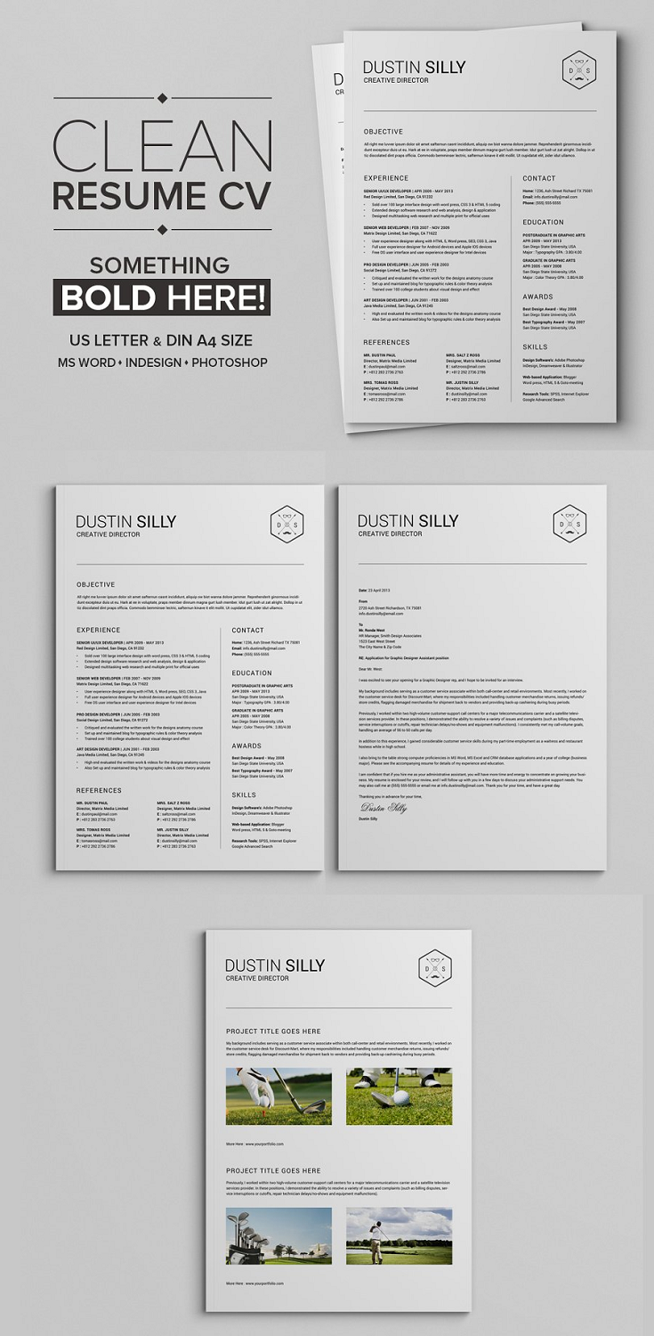 This is a specially designed handcraft clean resume cv with cover letter & portfolio template in clean style. You will test a modern style and fully designed in black and white color also ironic. In this diy resume download you will be able to create your own fully customizable resume set where you can display your education, skills, references and experience also a real and very effective cover letter.