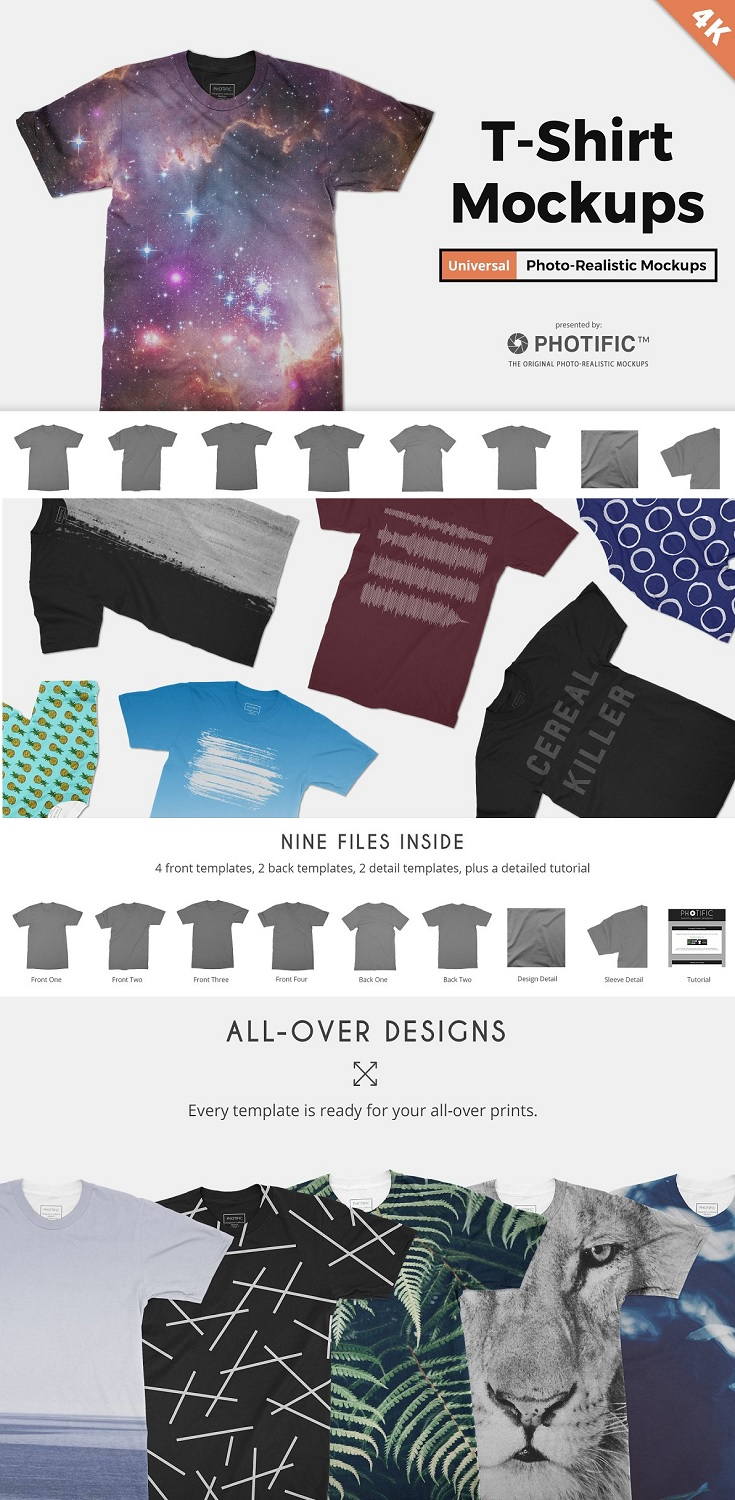 Highest Quality T-Shirt Apparel Mockups. Put simply, we set out to make the highest quality t-shirt templates available. This Photoshop mockup pack includes eight unisex T-shirt templates. 4K files ensure your designs look great on all displays, even when cropped and zoomed.