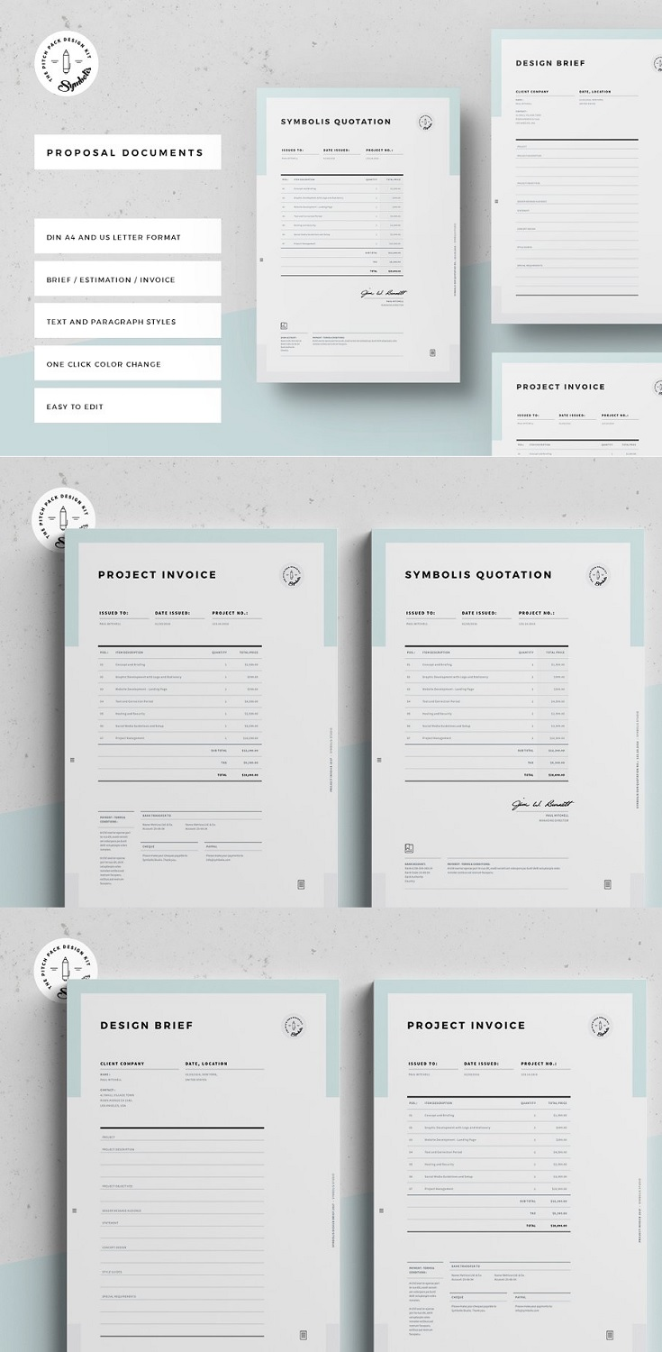 Invoice Templates in DIN A4 and US Letter size