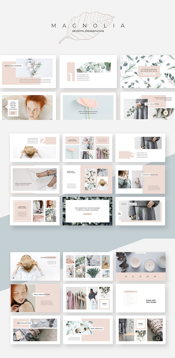 An elegant, fashionable & versatile presentation template. Magnolia design line has a soft, minimalist aesthetic that's both eye catching and professional.  Features:  120+ Unique Slides Drag & Drop Photo Functionality Editable Charts & Elements 16:9 Aspect Ratio Uses Multilingual Free Fonts Tons of Unique Photo Galleries Minimal Fade Transitions Vector Icons