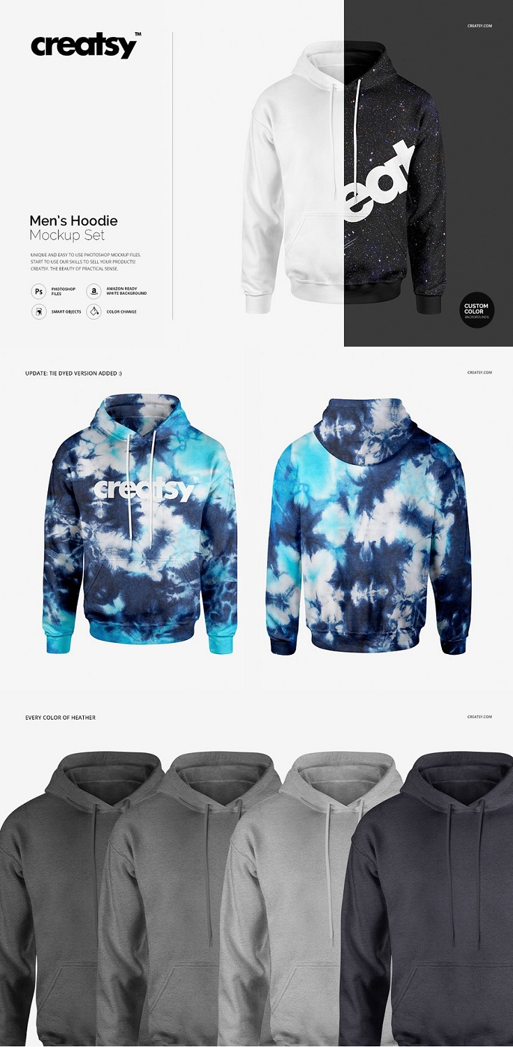 Men's Hoodie Mockup Set files works only in Photoshop (min. PS CS6); pack includes 2 .psd files, 2 different views, file specs: 4000x4000 px 300dpi; editable: front, back, sleeves, hood, laces; changeable colors, gradients (full range) and design (via smart objects); every color of heather;