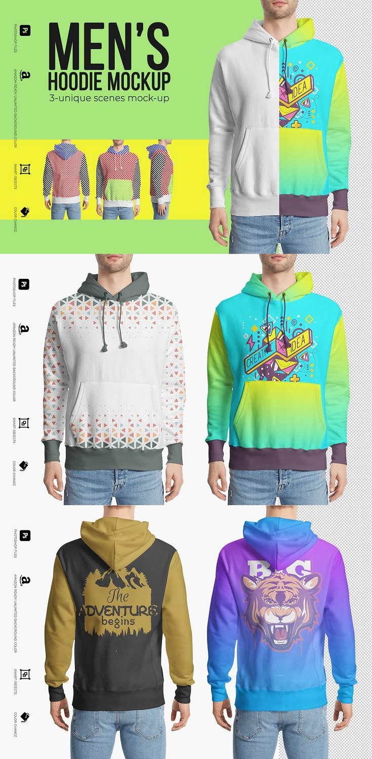 Men's Hoodie Mockup will help you preview how your apparel design will look like printed on a Hoodie. The PSD file allows you to change the color of the garment and place your design via smart objects so that it will blend with the folds and creases of the Hoodie, The offered mock-ups are highly detailed, which makes them the highest quality presentation tool.