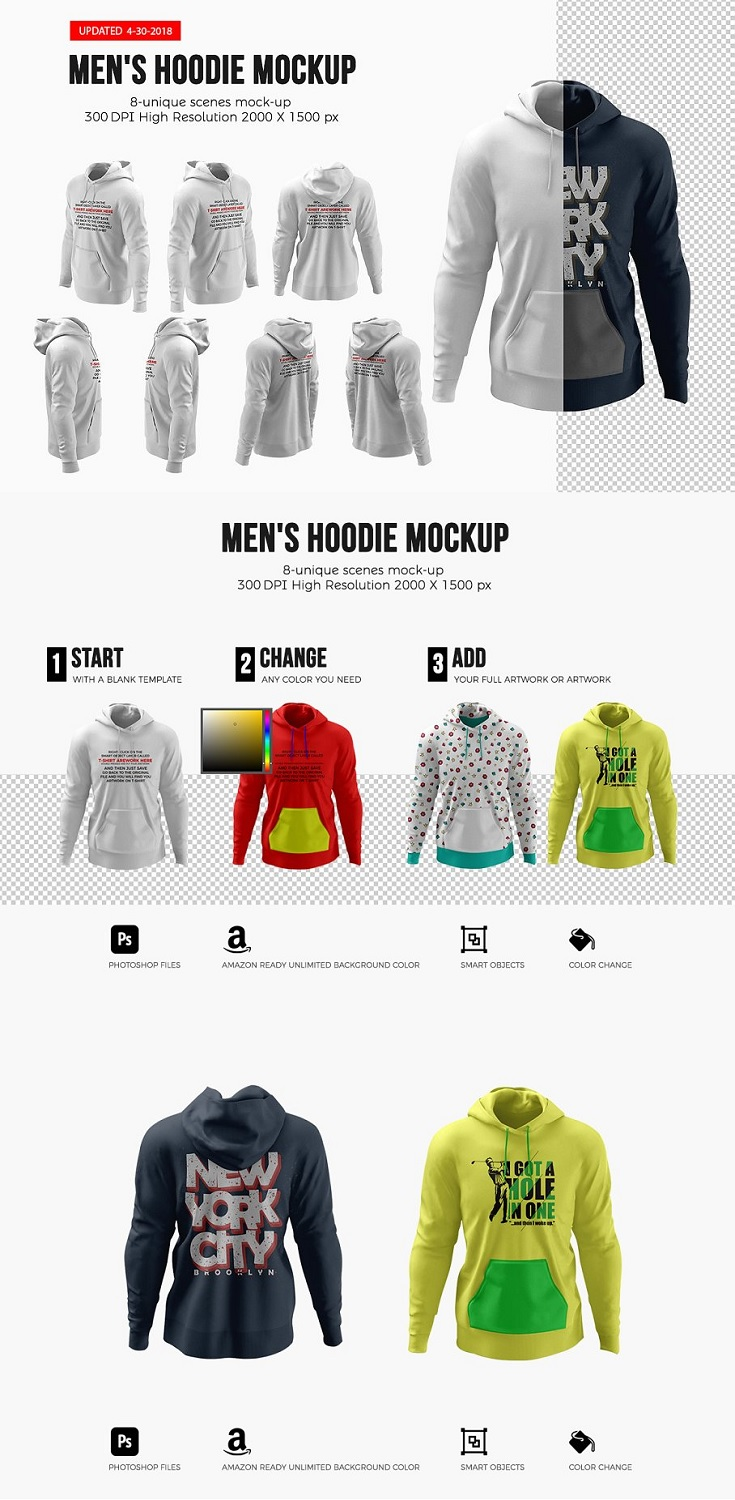This graphic resource gives you a quick & easy possibility to apply your artwork, text, image, logo and every kind of graphic on a Men's Hoodie