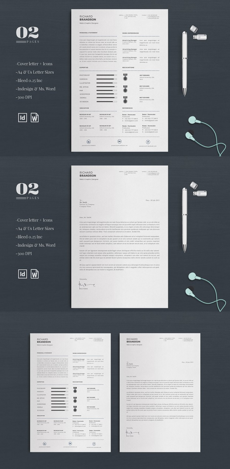 Minimalist Resume/CV Easy to edit and customise, with a single page resume design, cover letter templates. This is the fast and flexible solution for anyone looking for a professional looking resume.