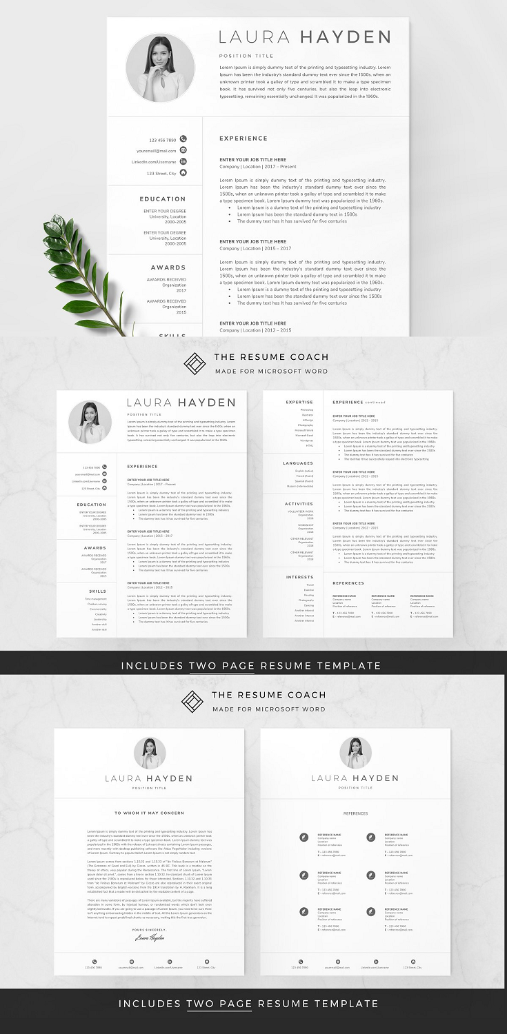 ✚ 1x Pre-Made 2-Page Template ✚ 1x Pre-Made Cover Letter Page Template ✚ 1x Pre-Made References Page Template ✚ Includes an Exclusive Multipurpose 100+ Icon Font (directly add & customize icons within Microsoft Word!) ✚ Includes US Letter & A4 sizes ✚ Detailed Documentation .PDF file with links to free fonts