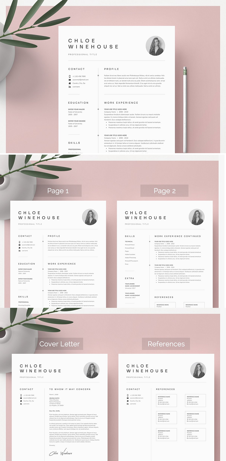 Downloading the file will allow access to your professionally designed, 1, 2 page resume template + cover letter + references template. The template can be easily customized to your liking and includes all necessary files for a quick set-up. Delete or add anything you desire in the document, change colors or simply keep the original design.