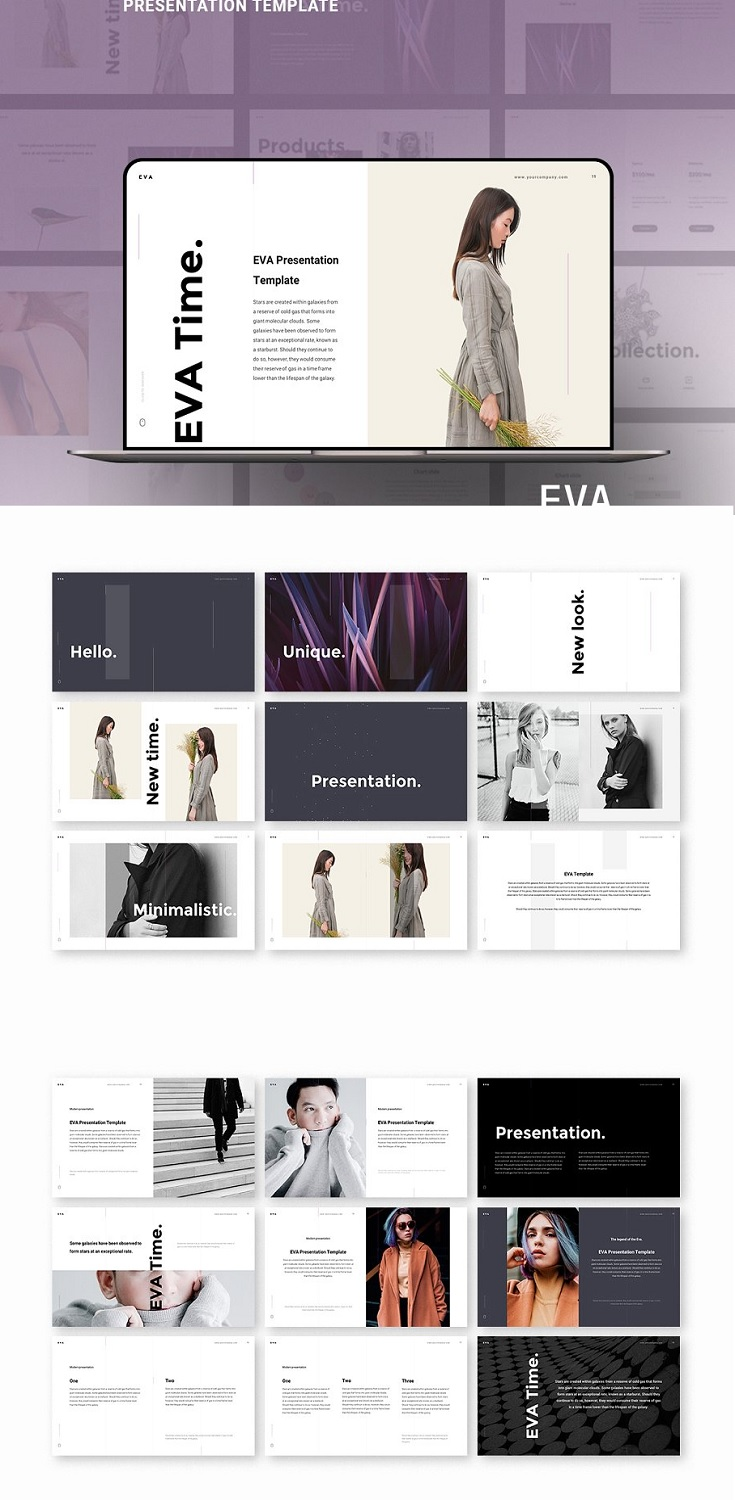 EVA Keynote Template is my first and lovely child. This is a multi-purpose template designed specially for fashion, nature, photography and restaurants that meets the latest design trends. Fully and easily customizable, it does not require any special knowledge in Keynote. Use a plenty of vector icons from the embedded 250+ collection.