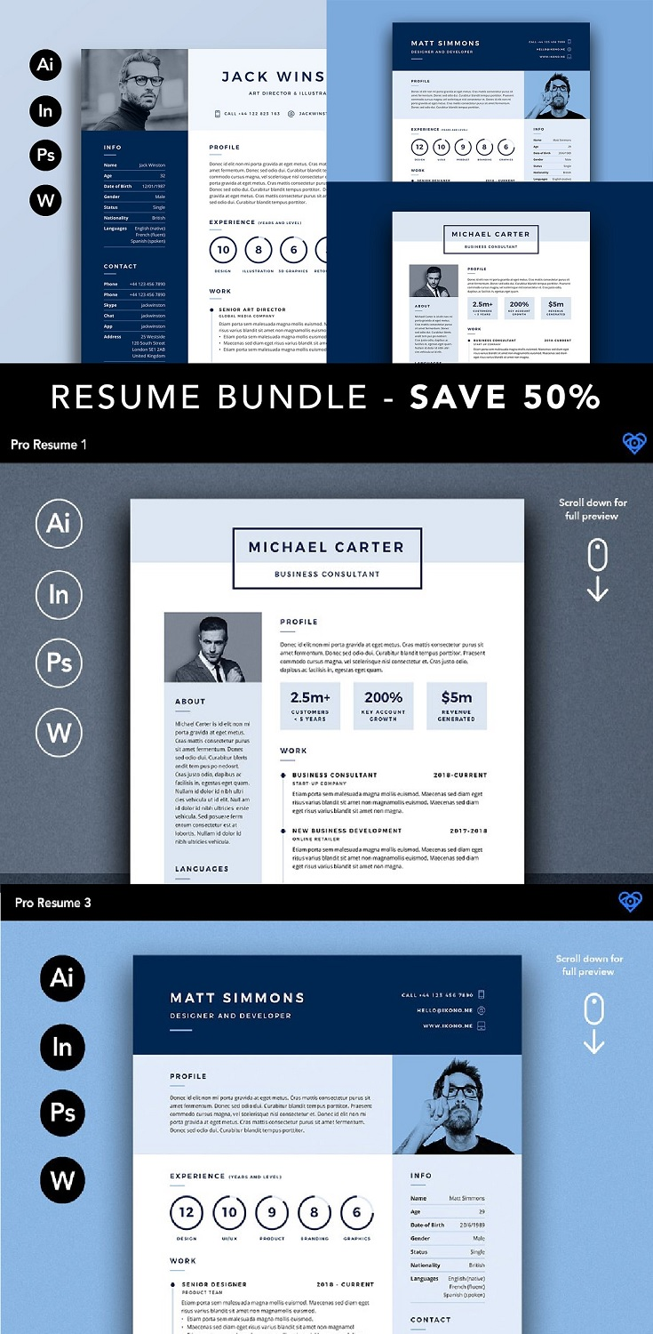 PRO Resume Bundle Easy to edit and customise templates supplied in Adobe Illustrator (AI/EPS), Adobe Indesign (INDD/IDML), Adobe Photoshop (PSD) and Microsoft Word (DOCX) formats. Templates are clearly organised and labelled so you can be confident in getting the best results in the fastest possible time. Colours are editable. 140+ icons included in the design. Matching business cards included.