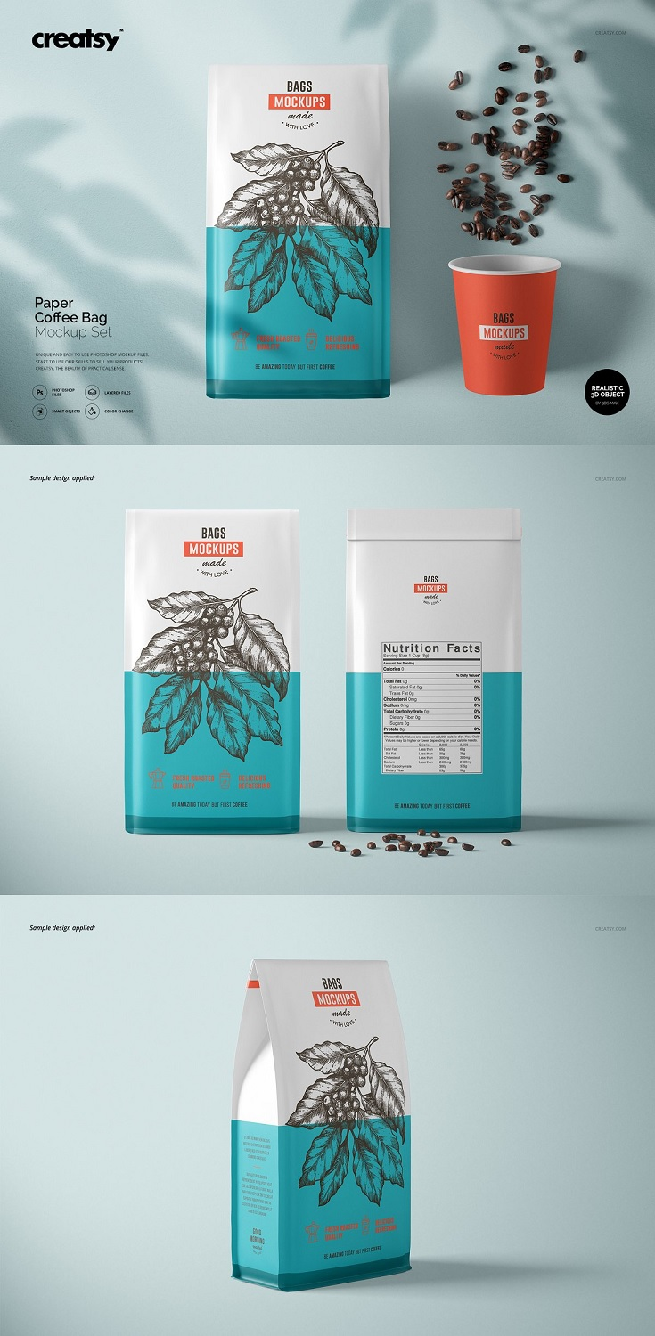 Paper Coffee Bag Mockup Set files works only in Photoshop (min. PS CC2015); File is using 3D functions of Photoshop, before purchasing please check if you have all the options enabled! pack includes 8 .psd files: 6000x4000 px, 300dpi;