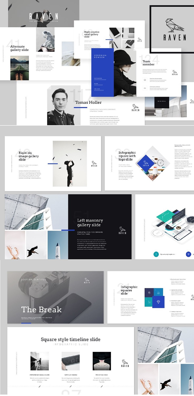 RAVEN template contains more than 125+ unique slides. Minimalist design & powerful features.  Product pack include  RAVEN Keynote Presentation.key RAVEN Keynote Presentation - OLD KEY.key (file for old keynote versions) Phone App Mock-Up ⟶ check this product in our portfolio