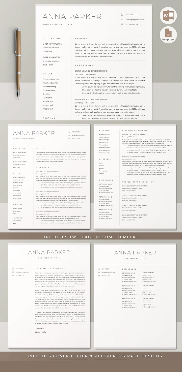 Resume Template CV Design, THIS TEMPLATE INCLUDES Two Page Resume Template Cover Letter Template Detailed instructions file on how to use and customize the templates Microsoft Word (.docx) files US Letter & A4 sizes Icon pack (set of 50 + link to other more)